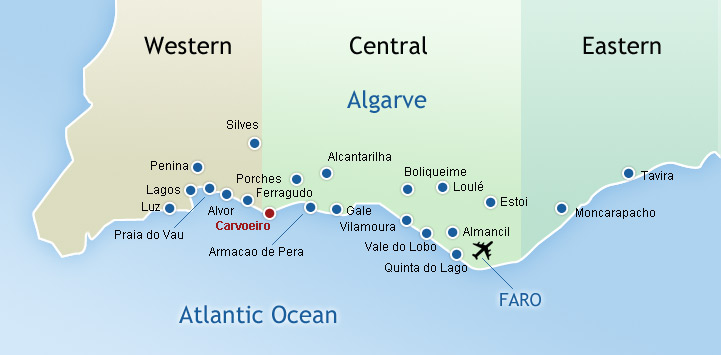 Map of the Algarve